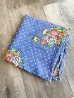 1950's Fabric Blue Polka Dot Floral Cotton 1.80 Yards