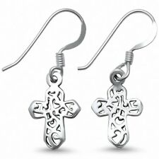 Cross Drop Dangle Earrings 925 Sterling Silver Fish Hook Plain Choose Color