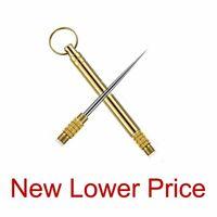Cigar Piercer No Damage Cigar Cutter Brushed Brass All Metal Key Ring NEW