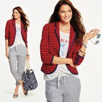 NWT Talbots Nautical Anchor Stripe Navy Red Knit Sweater Jacket Blazer 12W $139