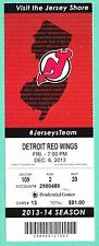 12-6-13 Red Wings at Devis Full Unused NHL Hockey Ticket  Tatar and Greene Goals