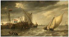 """Maritime """"Ships near a Pier"""" Bonaventura Peeters ca. 1640"""