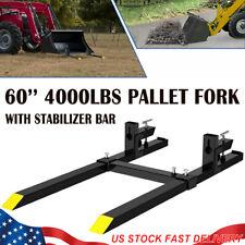 Clamp On Pallet Forks 60 4000 Lbs With Stabilizer Bar Skid Steer Loader Bucket