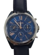 NWT Fossil BQ3216 Ladies Blue Dial Leather Strap Chronograph Watch $155