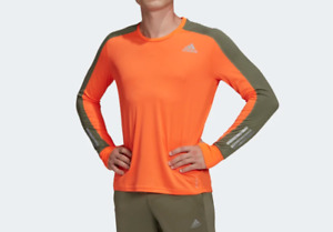 Adidas Running Top Mens Authentic New Own the Run Long Sleeve Reflective Orange