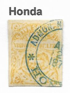 """STAMPS-COLOMBIA. 1870. 5c Yellow. SG: 62a. Used """"Honda"""" First Dated Cancel."""