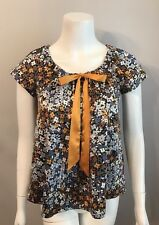 Stunning H&M Purple Gold Floral Tunic Top Blouse Size 4