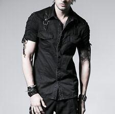 Punk Rave Men's Gothic Goth Punk Rock Metal Black Shirt Y-530