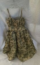 Cinderella Holiday Dress in gold with sparkle black floral pattern size 12 girls