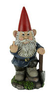 Naughty Garden Gnome with Axe Flipping Bird Statue