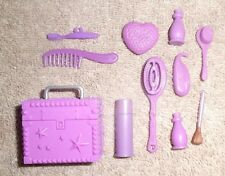 BARBIE DOLL CLOTHES ACCESSORIES - 11pc PURPLE COSMETIC HAIR MAKE-UP SET