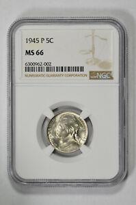 1945 P 5c Jefferson Nickel NGC MS 66
