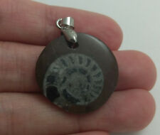 1 in Morocco Natural Hand Carved Snail Ammonite Fossil Specimen Pendant 55-2