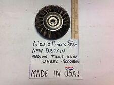 """NEW BRITAIN (TOP USA BRAND) 6"""" MEDIUM TWIST WIRE WHEEL FOR BENCH GRINDER LOW $"""