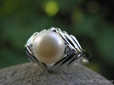 White Pearl Solitaire, (Size 7 1/2, O 1/2) CZ's & 925 SOLID Silver RING