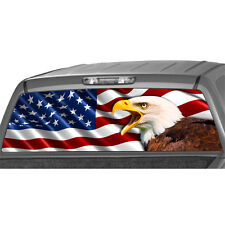 AMERICAN EAGLE FLAG Truck Rear Window Graphic Perforated Decal Wrap Tint pickup