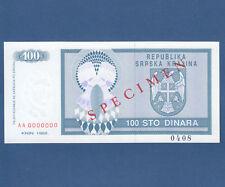 CROATIA / Krajina 100 Dinara 1992 Specimen UNC  P. R3s