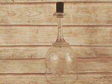 OLD VINTAGE HANGING WINE GLASS IRON BOTTOM END FLORAL DESIGN CLEAR TUMBLER