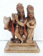 Marble Radha Krishna Stone Antique Old Hand Carved Hindu Love God Figure Statue
