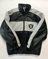 Vintage Oakland Raiders Football Official NFL Vegan Leather Jacket Size Large