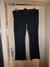 Damen-Strech-Jeans-Hose in blau mit braunen Nähten, große Größe 48
