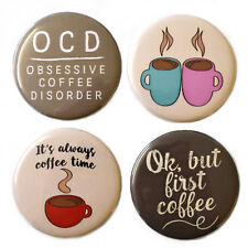 Coffee Lovers Fridge Magnets Set 4pc 55mm Caffeine But First Coffee! Gift Decor