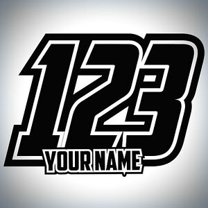 3 x Custom Race Numbers And Name Stickers Motocross Kart Decals MX Dirt Bike
