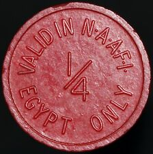 More details for valid in naafi 1/4 egypt only red plastic token   tokens   km coins