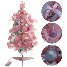 More details for seasonal pink flocking christmas decorated tree led light props ornaments 60cm