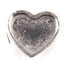 25pcs Antique Silver Board Concave Love Heart Charms European Beads Handmade J