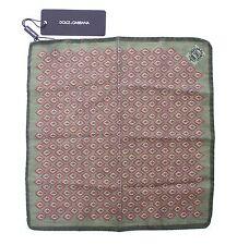 NEW DOLCE & GABBANA Handkerchief Green Silk Pochette Square Pocket 30cm x 30cm