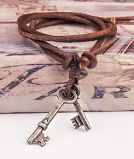 Vintage Charm Punk Double Keys Real Leather Rope Surfer Beach Chocker Necklace