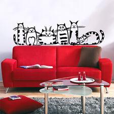 01188 Wall Stickers Sticker Adesivi Murali Gattoni che guardano la TV 120x33cm