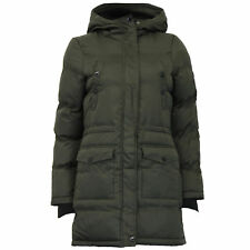 Ladies Jacket Brave Soul Womens Long Coat Sherpa Fleece Hooded Padded Winter Khaki - ASTRA UK 10