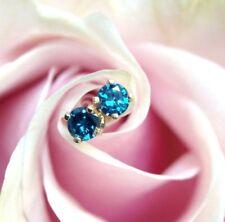 .30 CTW Sparkling Blue Diamond 14K Yellow Gold Stud Earrings