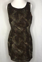 Women's Rabbit Animal Print Sheath Dress Sleeveless Round Neck Women's 12 Lined