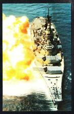 """Battleship USS IOWA BB-61 Firing 16"""" Guns US Navy Ship Postcard"""