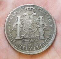 1808 LIMA 8 REALES PERU SILVER PROCLAMATION MEDAL FERDINAND VII España Abascal