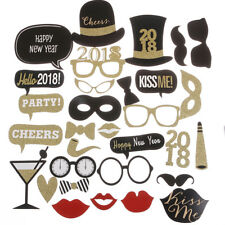 New 32 pcs Happy New Year 2018 Photo Booth Props Eve Party Decoration Supplies
