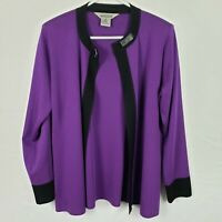 Exclusively Misook Womens Cardigan Size S Purple Open Front Long SLeeve Knit