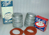 1 Vintage Ball Regular Standard Mouth Zinc Mason Jar Lid W/1 Sealing Rubber NOS