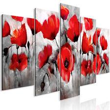 Wandbilder xxl Blumen Mohn rot grau 225x100cm Leinwand Bild Deko b-C-0252-b-m