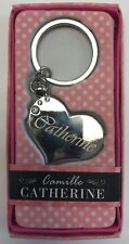 CATHERINE Camille heart silver color personalized KEYCHAIN BRAND NEW IN PACKAGE