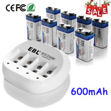 8x EBL 600mAh Li-ion 9V Battery Rechargeable Batteries + 9 Volt Battery Charger