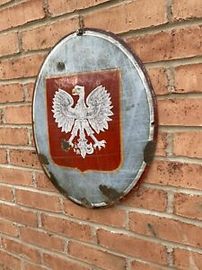 Republic of Poland's national emblem, the crowned White Eagle Oval enamel sign