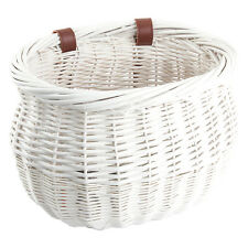 "LARGE FRONT BICYCLE BIKE BASKET WILLOW WICKER BASKET WHITE HANDLEBAR 13""x 8 x 9"""