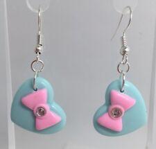 Blue Heart Pink Bow Sparkle Earrings G220 4.5 Cm Long Pastel Kawaii Barbie