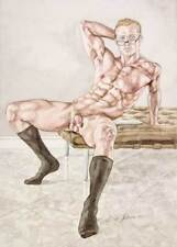 Oh boy, homme nu, watercolor print nude muscle male with glasses gay interest