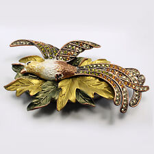 Bejeweled bird of paradise trinket box, Faberge figurine, with crystals in topaz