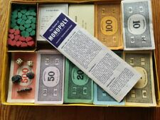 """Vintage Monopoly money, cards, spares, including """"For a Good Girl"""" thimble."""